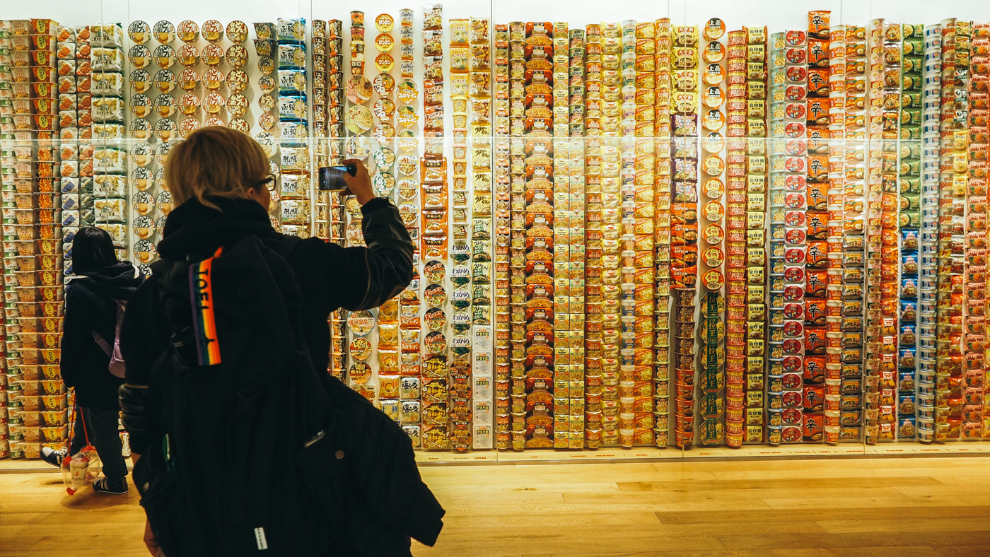 Yokohama - Nissin Cup Noodle Museum - Joel taking picture of the cup noodles