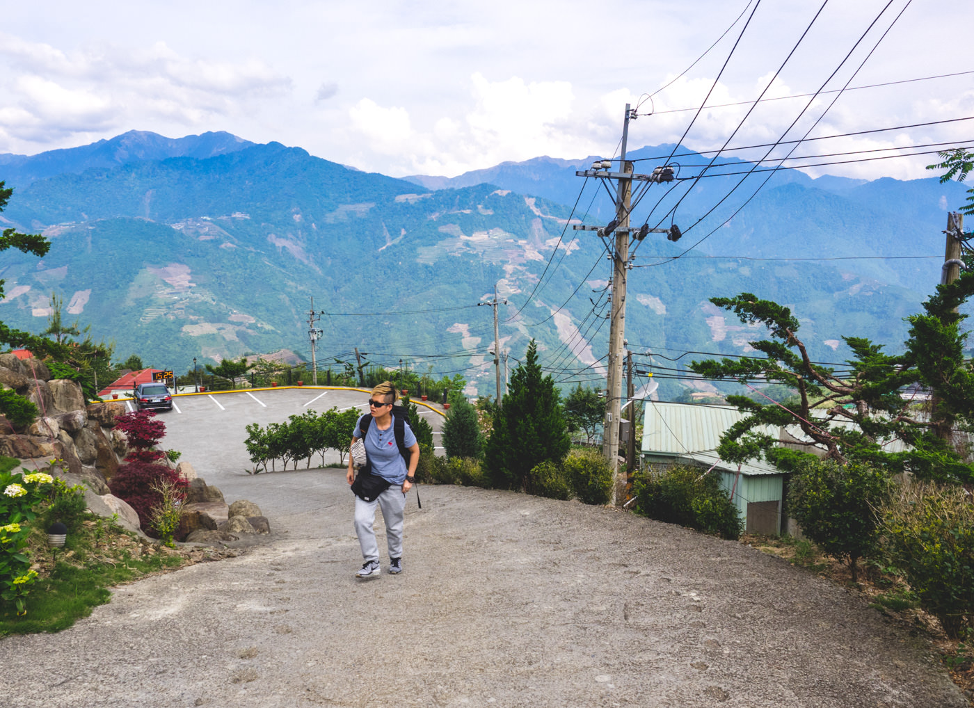 Taiwan - Qingjing - Walking up a steep slope to our accommodation