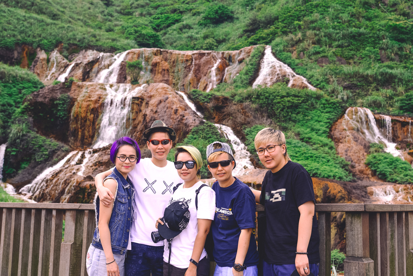 Taiwan - New Taipei City - Group shot at the Golden Waterfall