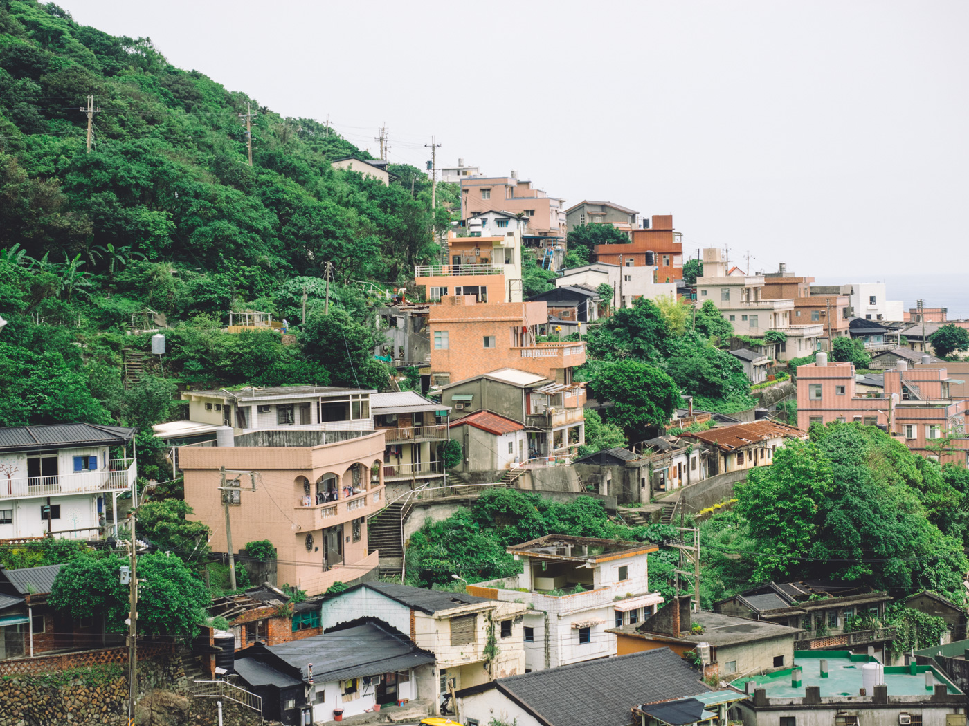 Taiwan - New Taipei City - Stacked houses along the mountains