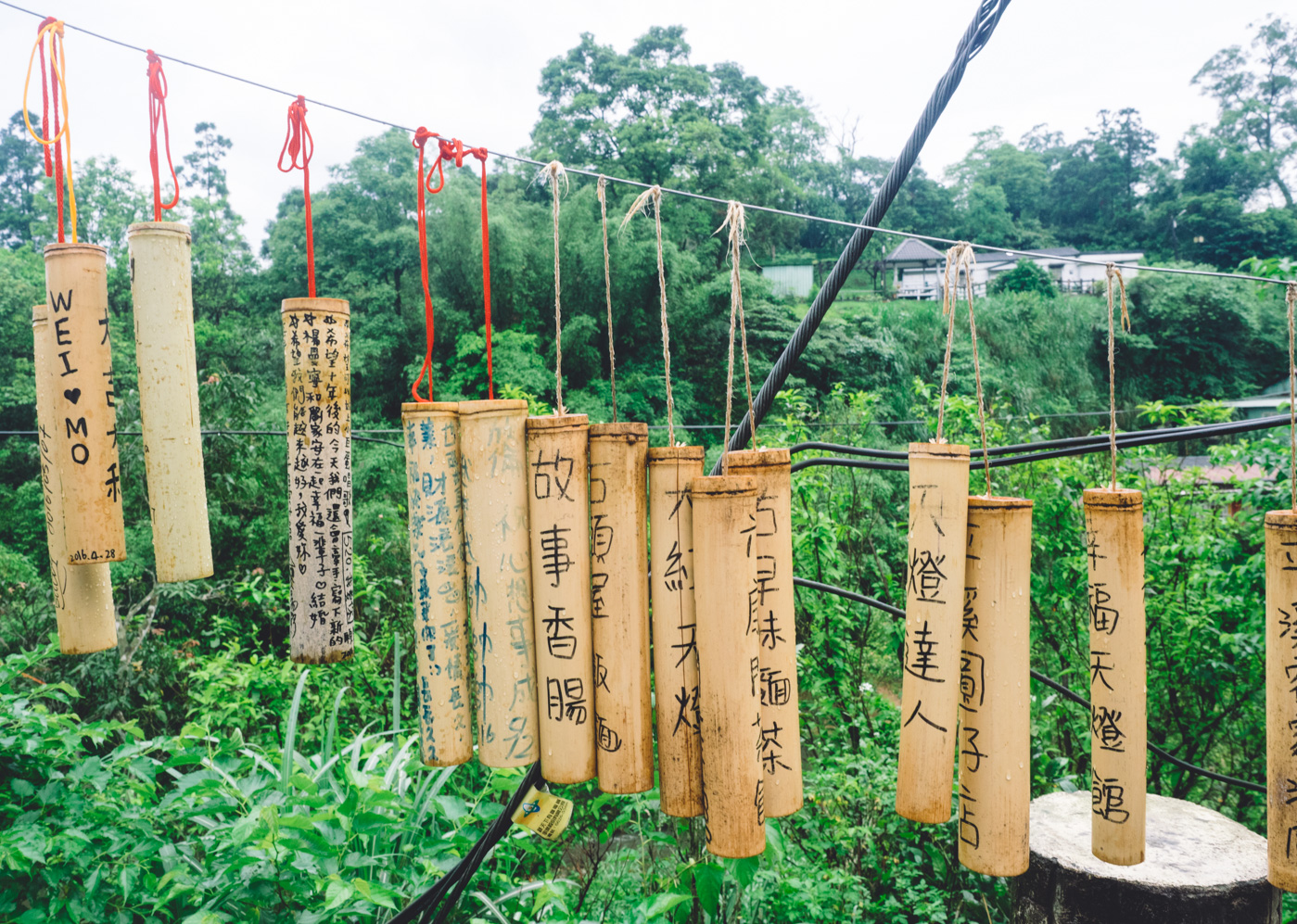 Taiwan - Shifen - Wooden well wishes