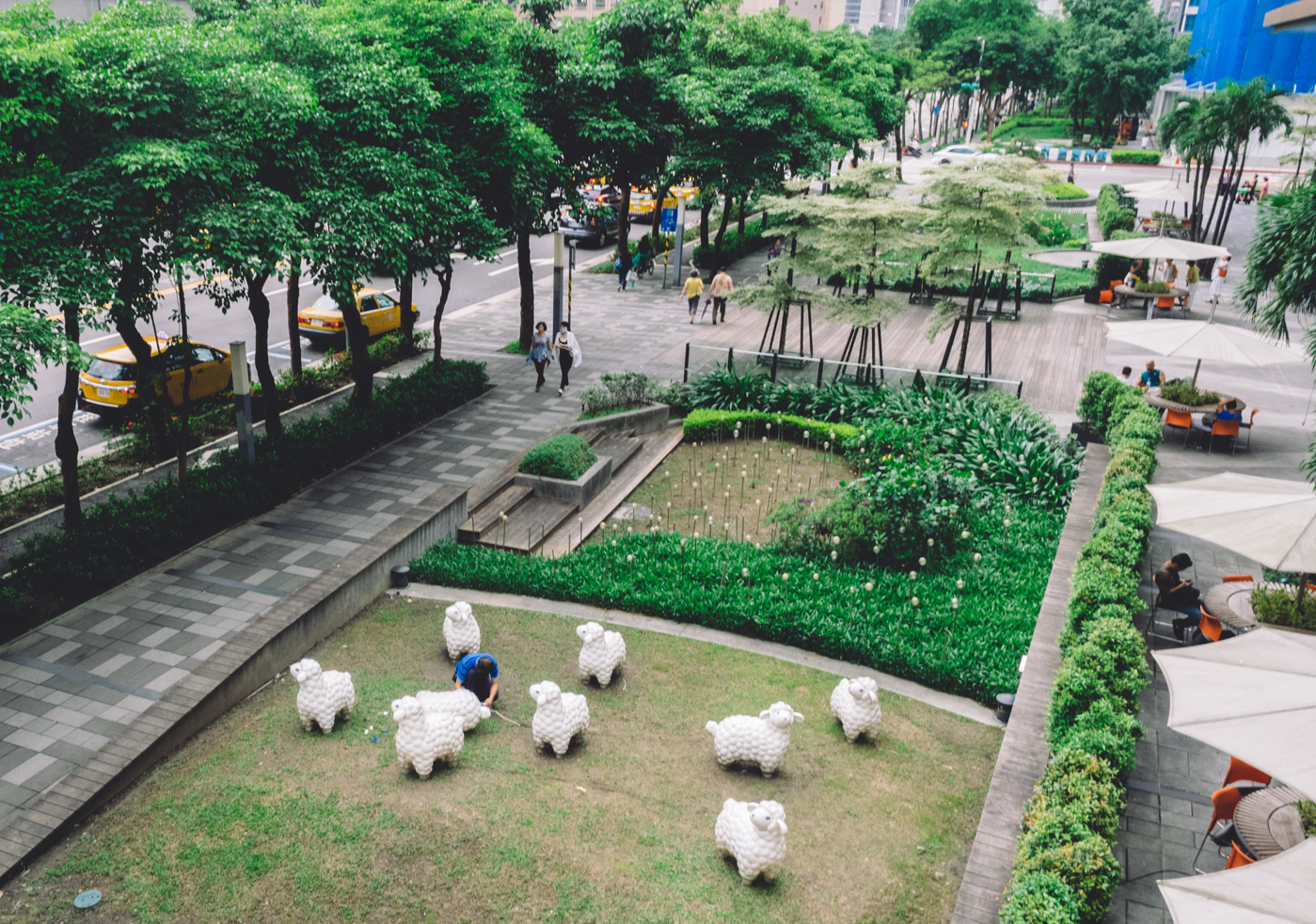 Taiwan - Taipei - Mall area with sheep sculptures