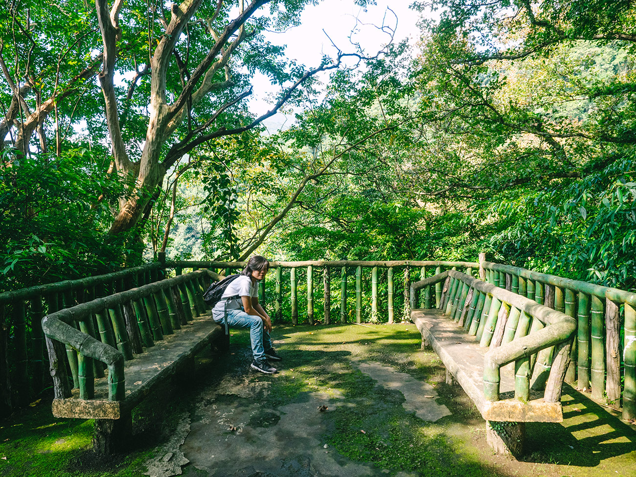 Yangmingshan - Wooden seating area