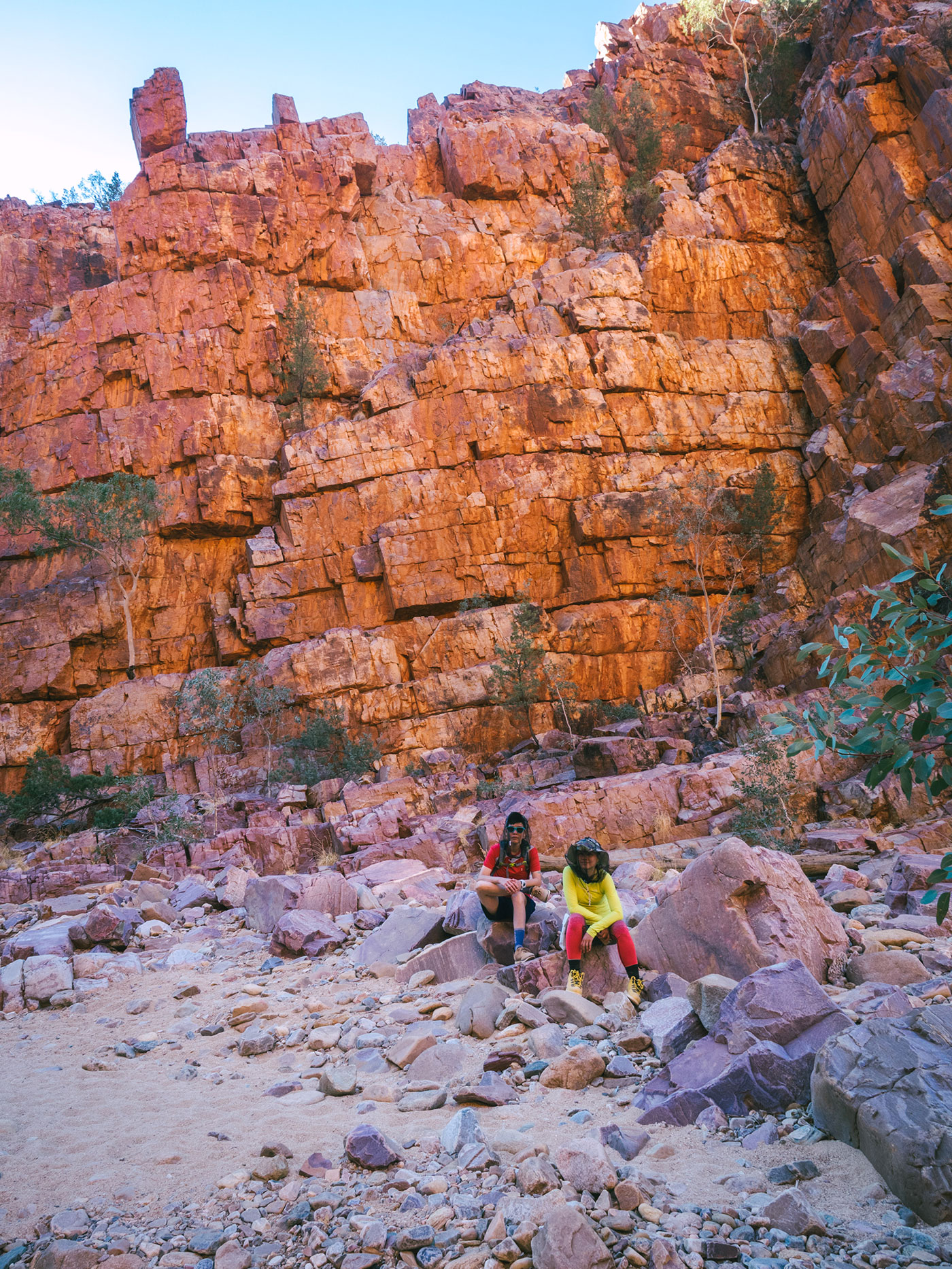 My colourful friends with the boulders acting cool at Ormiston Gorge