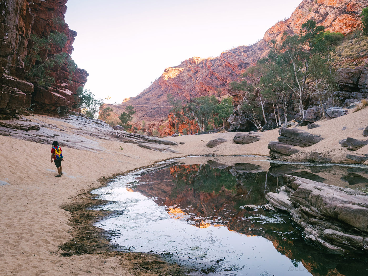 Mountain reflecting from the tiny lake at Ormiston Gorge